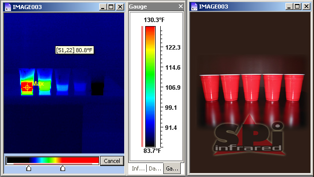 thermal image of cups